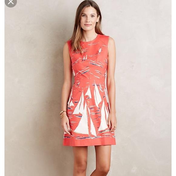 a7367567f9c4 Maeve Dresses | Nwt Anthropologie Coral Sailboat Dress | Poshmark